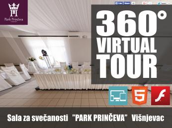 Virtualna šetnja u 360° - Sala za svečanosti PARK PRINČEVA (Višnjevac)